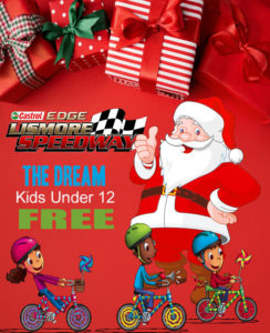 Santa/ Kids Pushbike Racers THE  DREAM @ Lismore Speedway