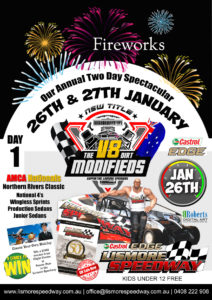 Castrol Edge V8 Dirt modified NSW Title/Fireworks/AMCA Nationals Northern Rivers Classic @ Lismore Speedway