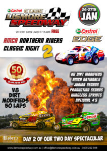 Castrol Edge V8 Dirt Modified Golden Jubilee 50 Lapper/ AMCA Nationals Northern Rivers Classic Night 2 @ Lismore Showgrounds - Speedway