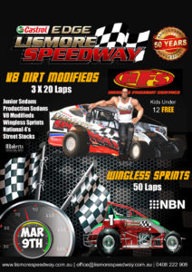 Herne's Freight Services V8 Dirt Modifieds Triple 20 Lapper/ Wingless Sprints Golden Jubilee 50 Lapper @ Lismore Speedway